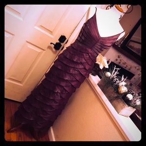 Adrianna Papell Beautifil Plum Scalloped Gown